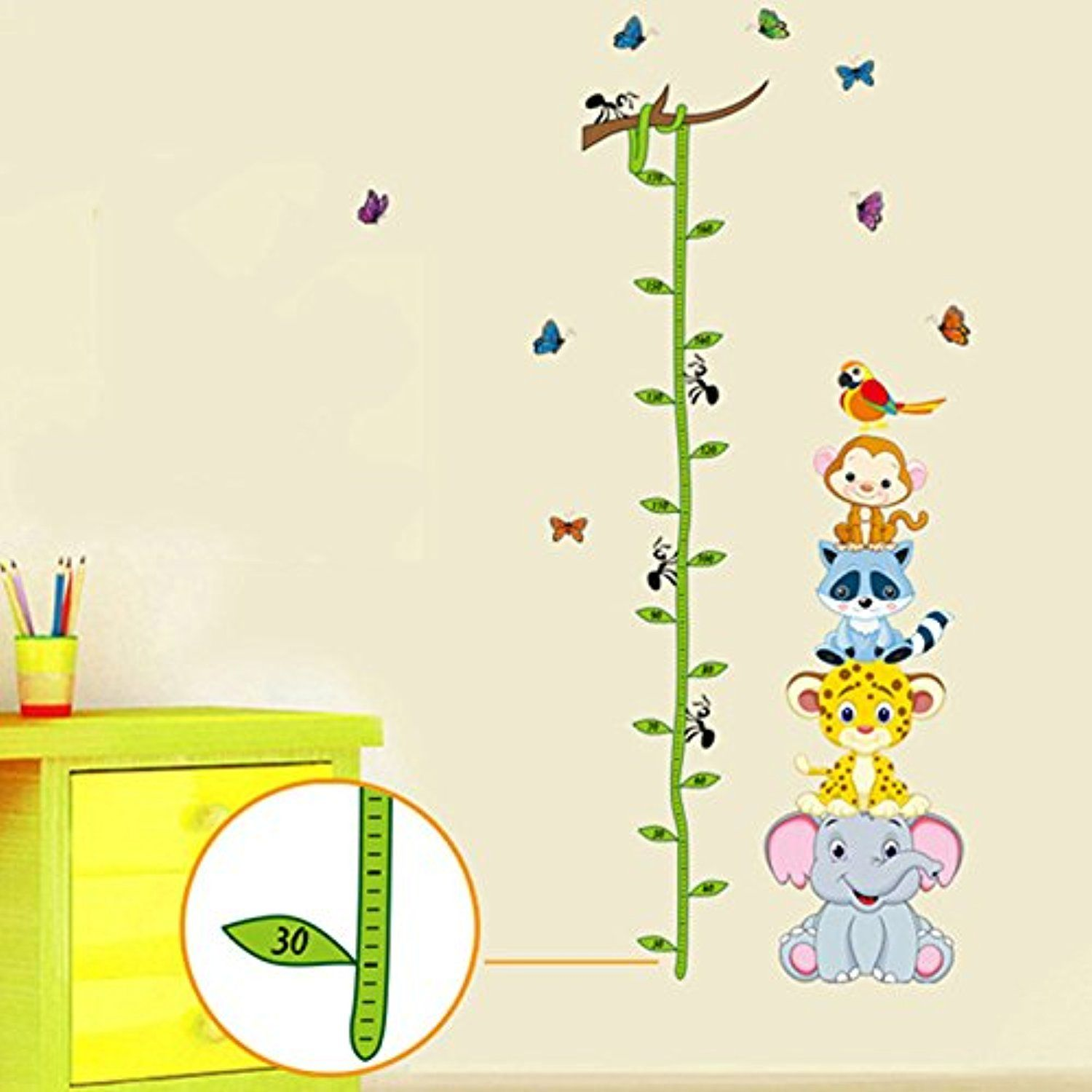 Wall Stickers Wall Poster Decals Cartoon Animal Child Tall Height