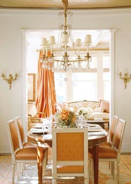 pretty chandelier, gorgeous full silk curains--elegant   Elegant ...