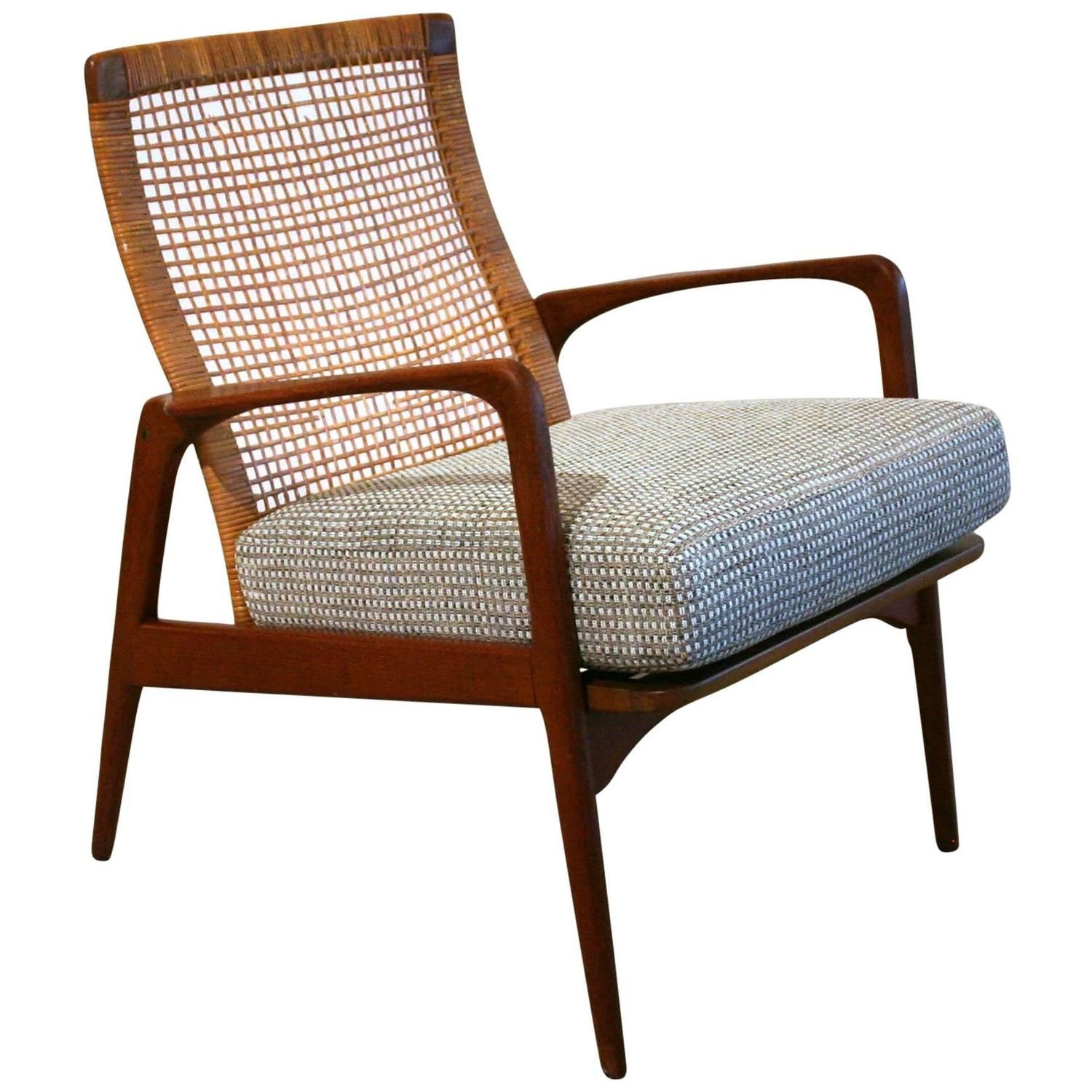 Vintage Danish Teak And Cane Lounge Chair 1stdibs Com Chair Vintage Lounge Chair Wooden Armchair