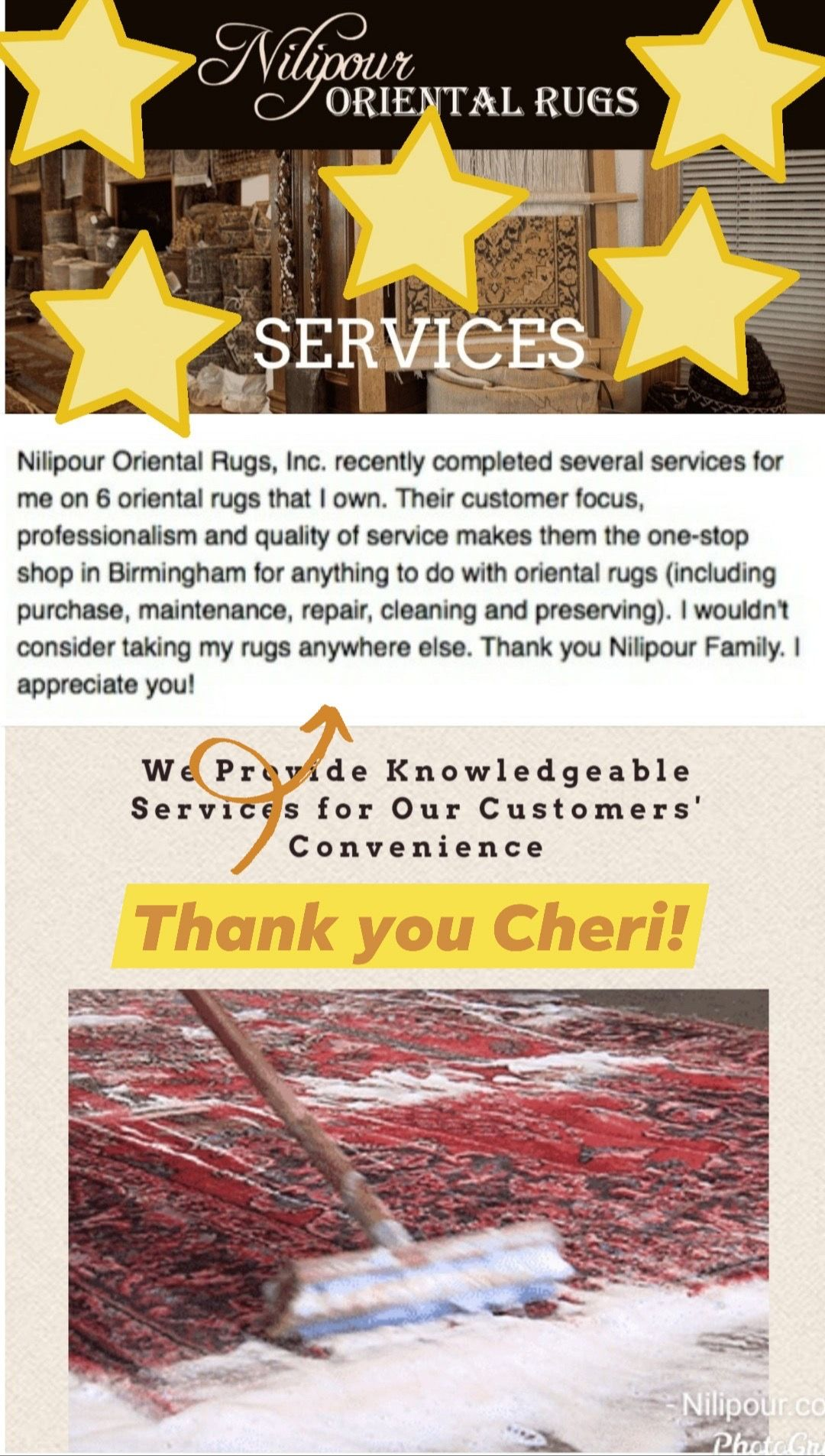 #TestimonialTuesday from a true treasure of a customer!   We appreciate the opportunity to serve our community, but it is because of your gratitude and trust that keeps us thriving and passionate to keep moving forward!    If you need your rugs professionally cleaned and restored, let us help you as we did Cheri!    #NilipourOrientalRugs #familybusiness #since1972 #rugcleaners #rugcleaning #arearugcleaning #orientalrugcleaning #rugrestoration #arearugrestoration #orientalrugrestoration