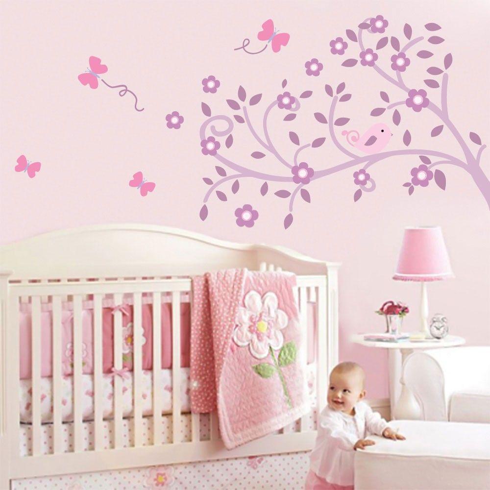 Decora O Adesivos De Parede Para Quarto De Beb A Decora O Do  ~ Quarto Bebe Feminino Papel Parede