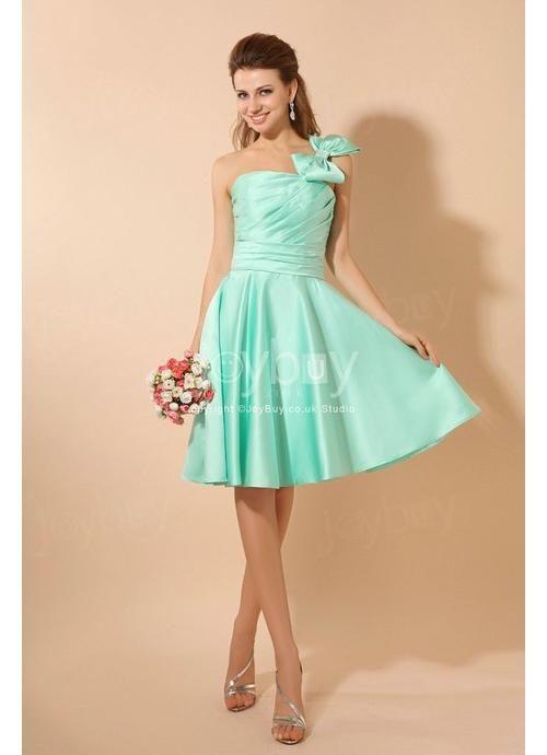 Mint Bridesmaid Dresses | One Bow Shoulder A Line Knee Length Mint ...