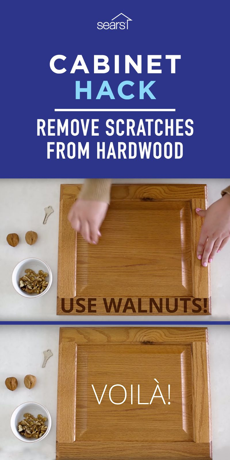 Can You Really Remove Scratches From Hardwood With Walnuts We Tested This Kitchen Hack To Find Out If Your Clean Kitchen Cabinets Clean House Cleaning Hacks
