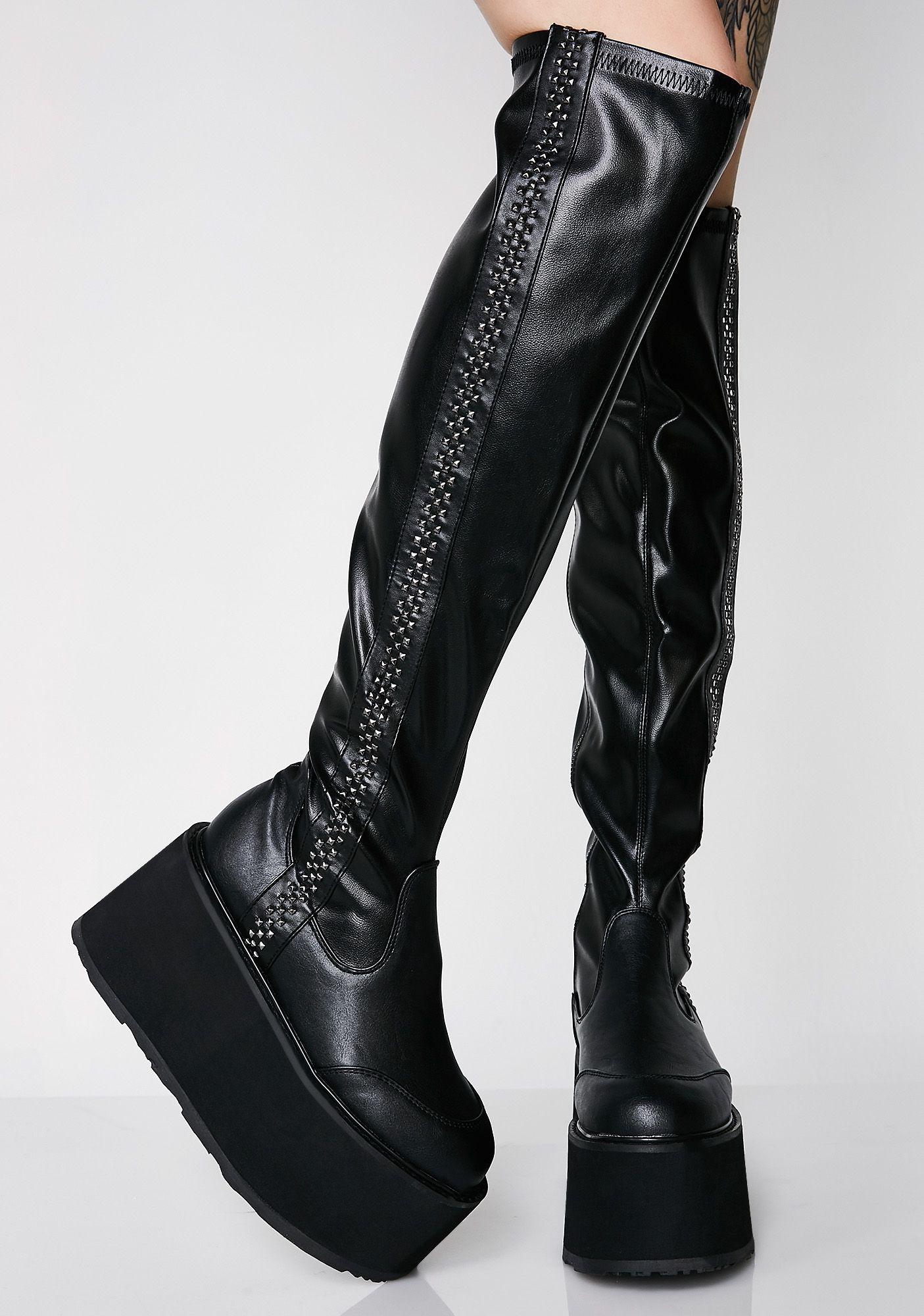 b3ac354cba22 Demonia Stompin  Hard Platform Goth Boots