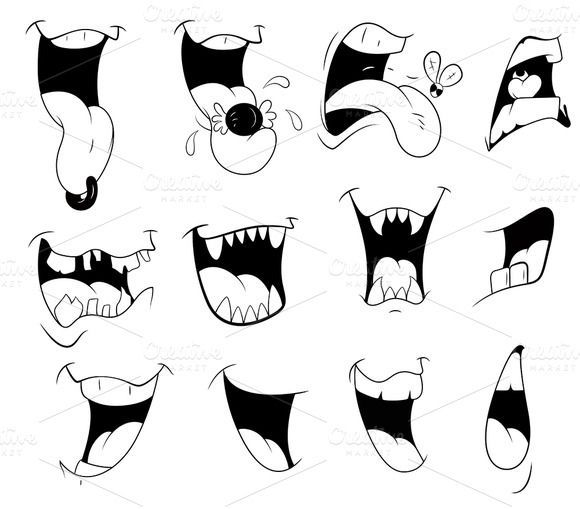 Schauen Sie sich Cartoon Mouth Vector Designs von TrueMitra Designs auf Creative Market an  Flash