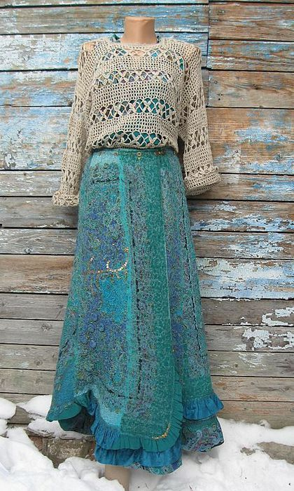 Валяная юбка в стиле бохо