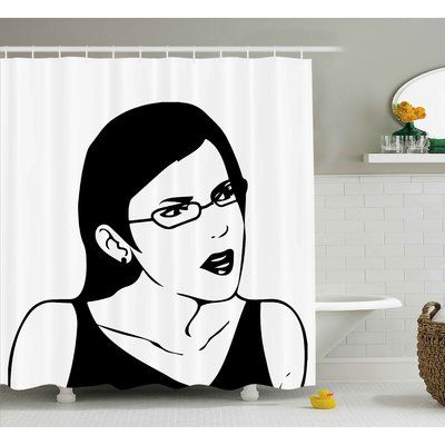 East Urban Home Girl Woman Face Decor Shower Curtain Size 69 H X 75 W