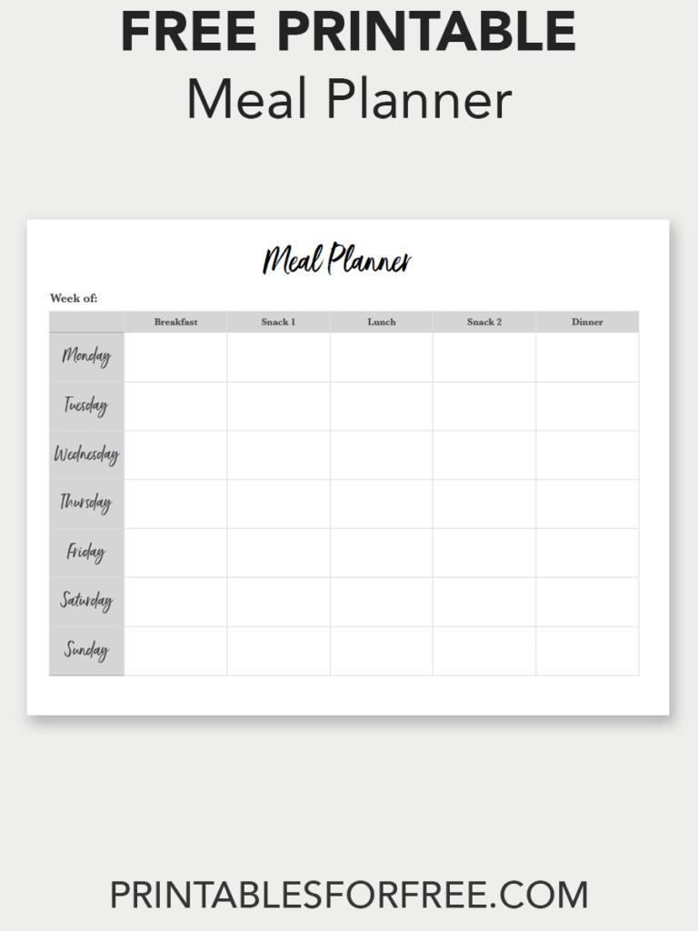Printable Meal Planner Minimal Printables For Free Planner Printables Free Meal Planner Printable Free Diy Meal Planner