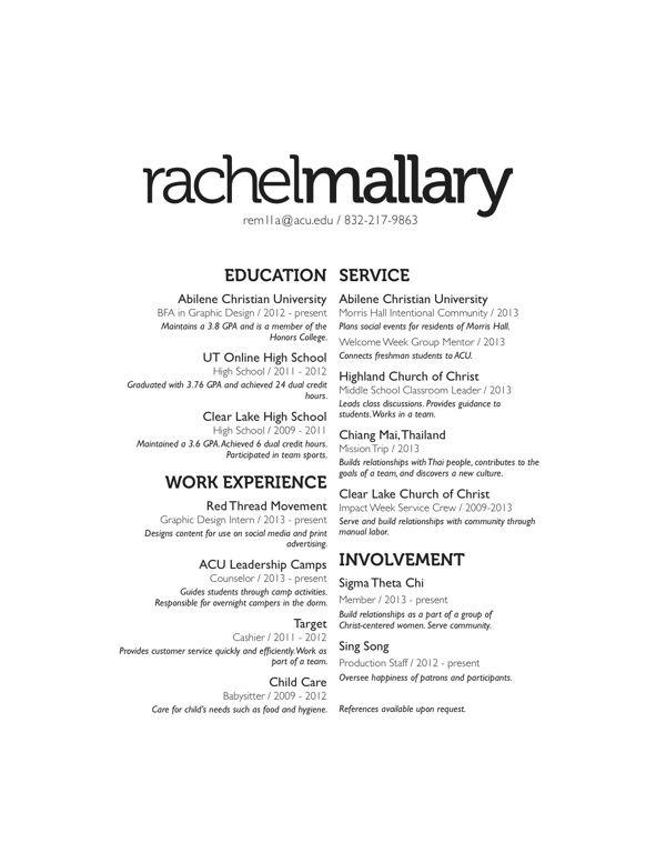 simple resume header