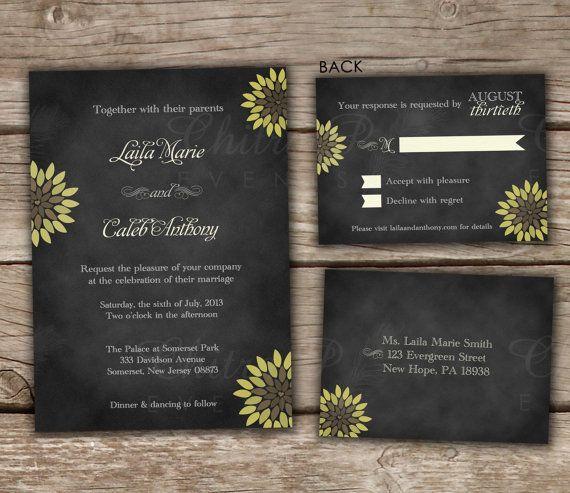 Diy Chalkboard Wedding Invitations: Sunflower Wedding Invitation And RSVP Chalkboard DIY By