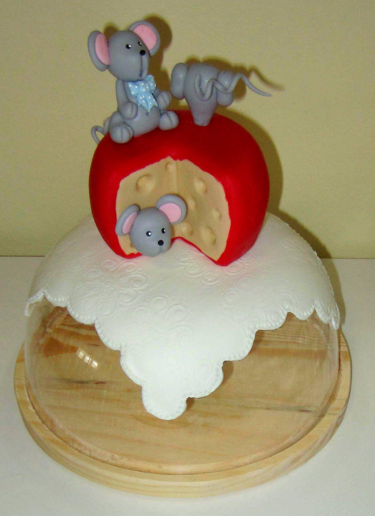 Queijeira com ratinhos em biscuit
