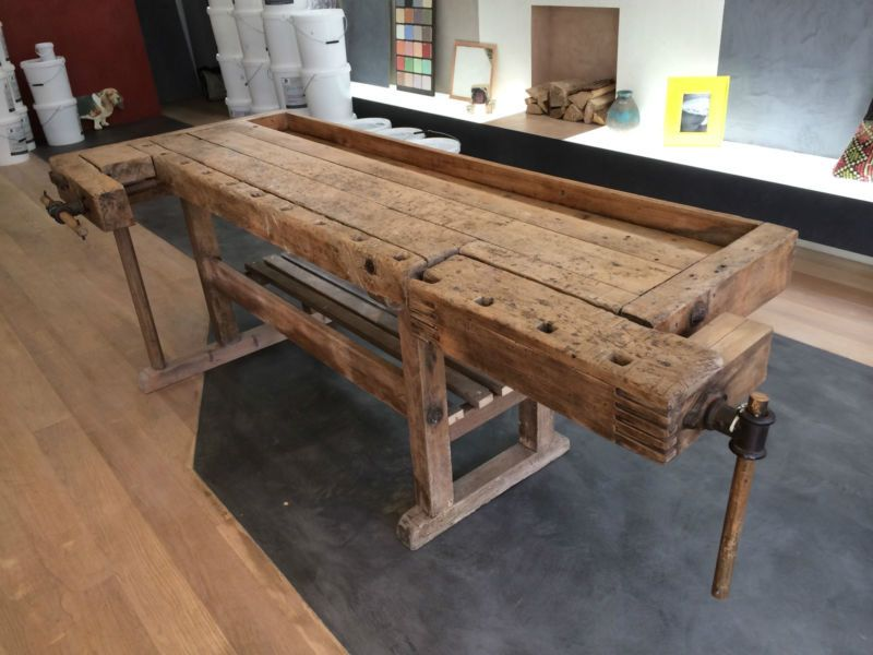 Wooden Antique Carpenters Work Bench Fully Restore
