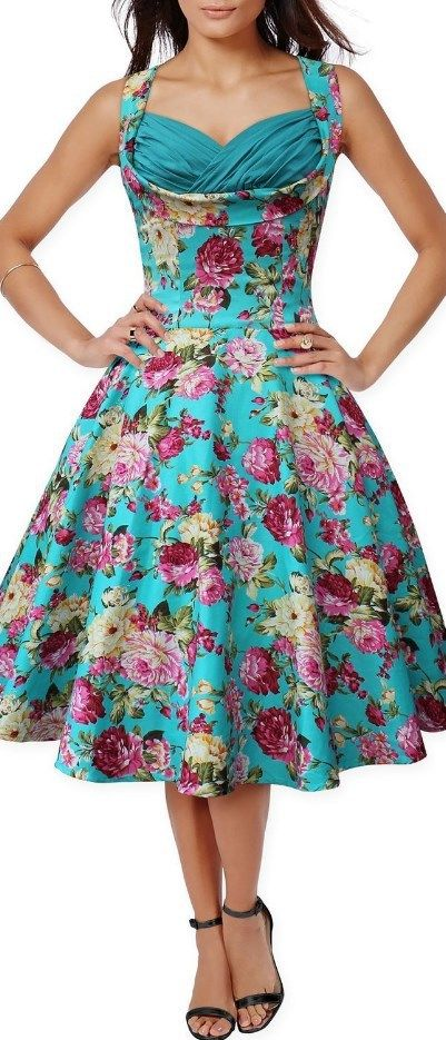 61c56f954d4 50s 60s Vintage Floral Print Divinity Rockabilly Swing Retro Dresses Pin Up  Green