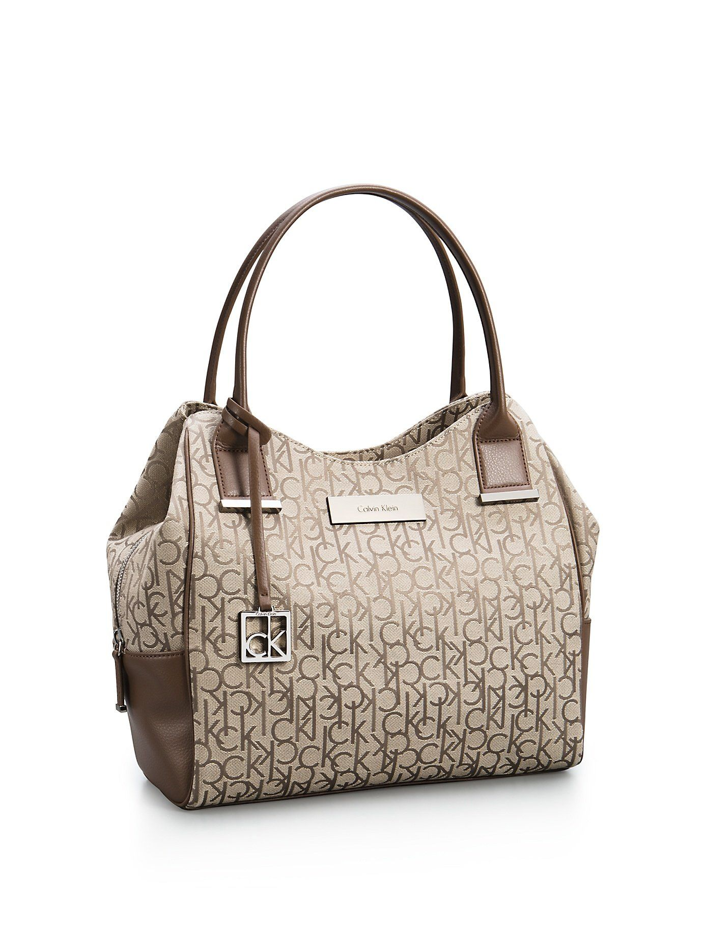Calvin Klein Logo Jacquard Center Zip Hobo Handbag Satchel Purse Tote Natural