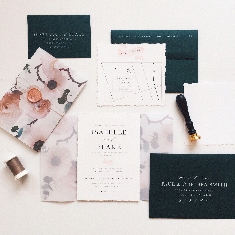 Deckle Edge cotton paper wedding invitations with floral vellum wrap ...