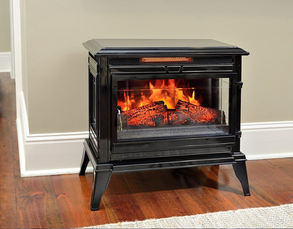The Comfort Smart Jackson Black Infrared Electric Fireplace Stove With Remote Control