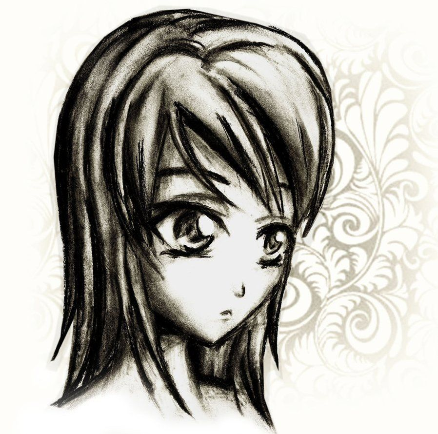 anime drawings charcoal anime drawing by *Lizalot on