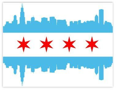 Robot Check Chicago Flag Window Vinyl Chicago