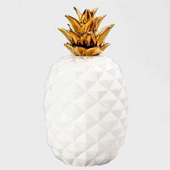 Abacaxi de Cerâmica Coroa Dourada 28 cm