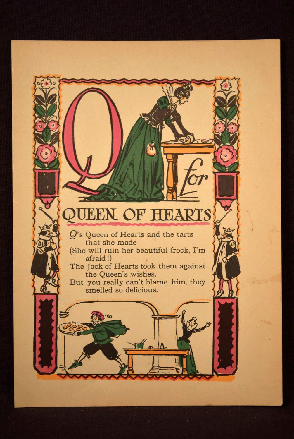 Letter Q Print Childrens Print Kids Wall Art Decor Queen of Hearts