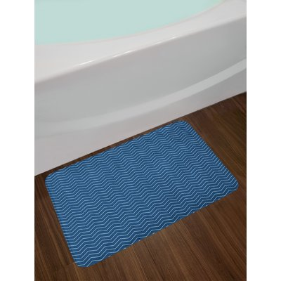 East Urban Home Horizontal Dark Blue Baby Blue Navy Blue Bath Rug
