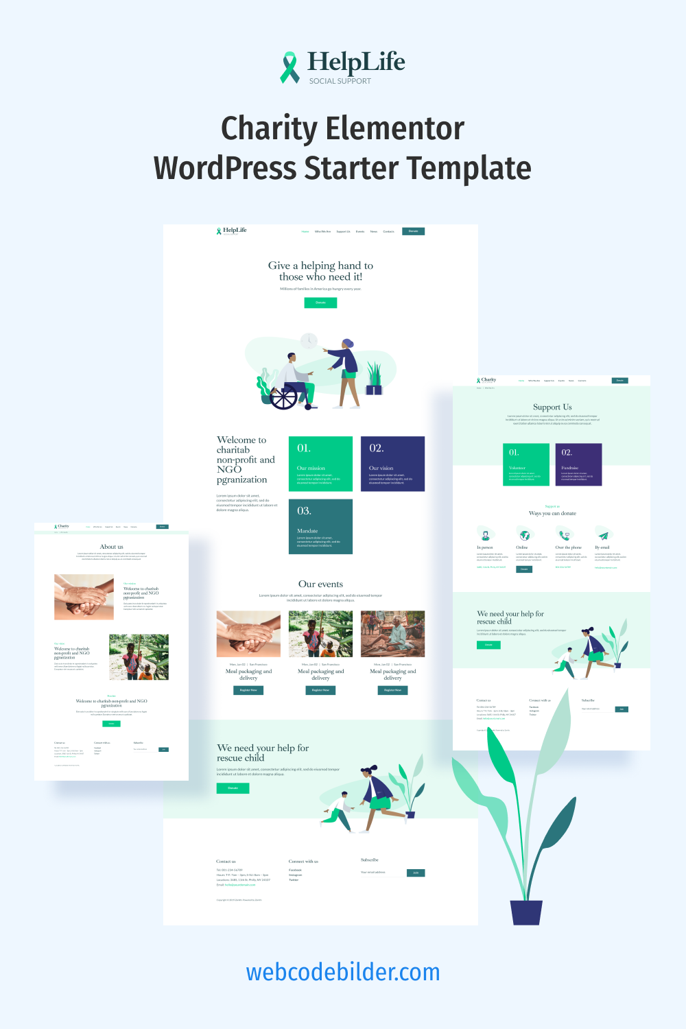 Helplife — charity Elementor WordPress starter template