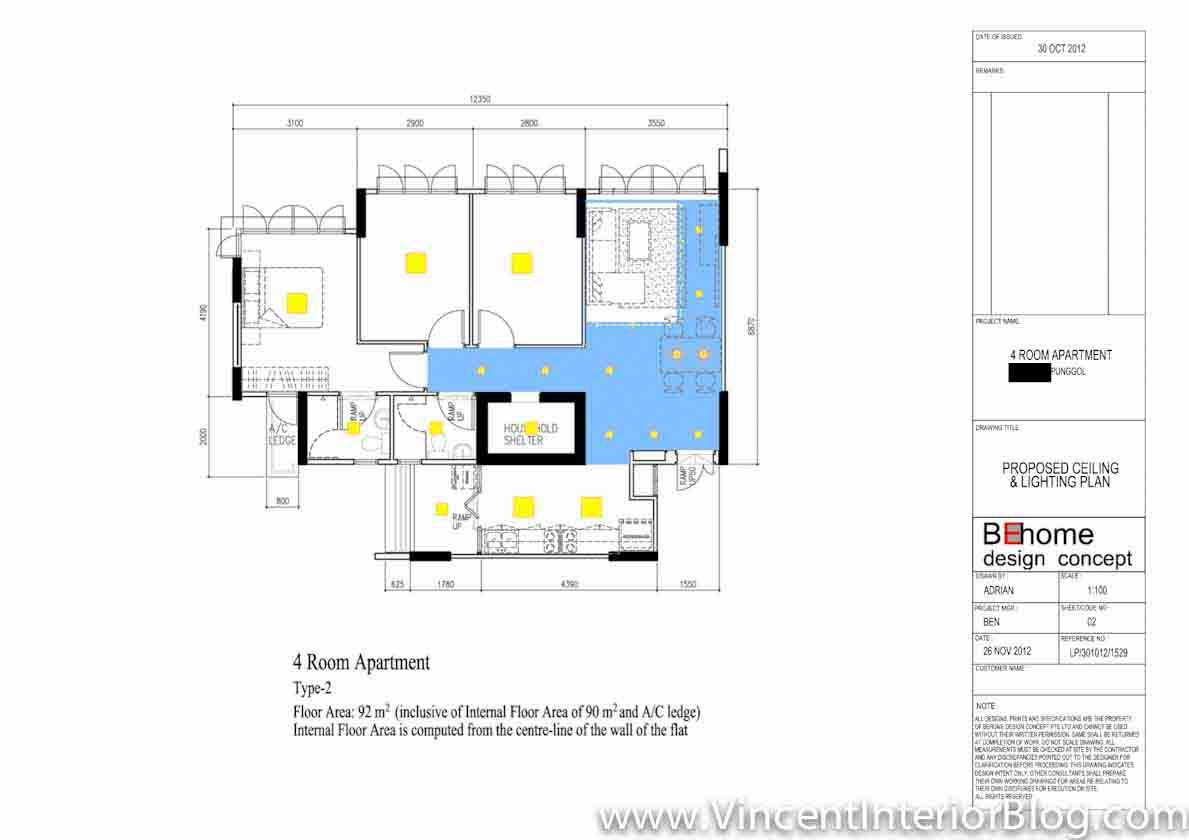 Punggol 4 Room HDB 207 Lighting Plan And