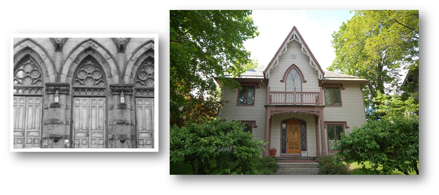 Gothic Revival C 1840 1875 Steep Pitched Roof With Cross Gable Pointed Arch Windows Leaded Glass Small Cottage Homes Arched Windows Small Cottage