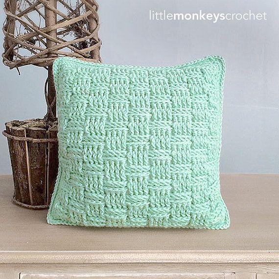 Crochet Throw Pillow Pattern Basketweave by LittleMonkeysCrochet