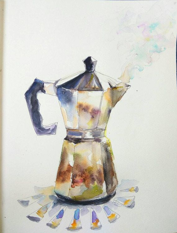 DIY print Coffee pot on stove original watercolor painting kitchen decor wall art for coffee lovers gift for her italian style espresso cafe Do you need a gift for a passionate coffee lover, or a kitchen home decor? Then this italian coffee pot kitchen art will be awesome gift idea.