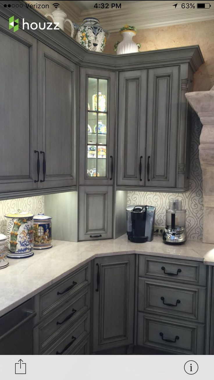 Gray cabinets | Distressed kitchen cabinets, Grey kitchen ...
