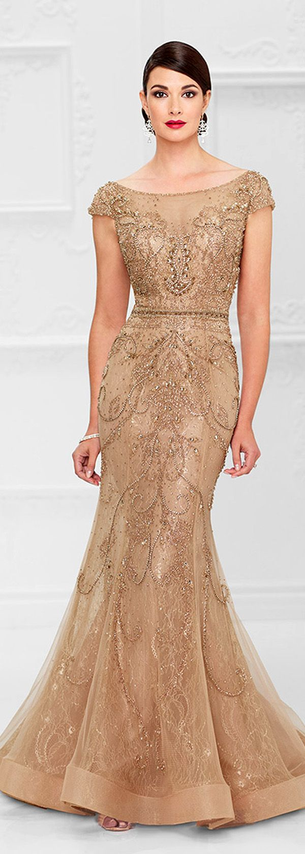 Chic tulle u lace bateau neckline mermaid mother of the bride