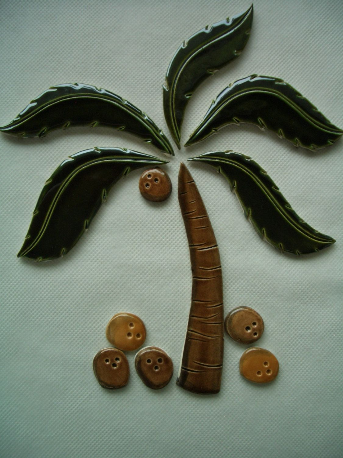 Two Palm Tree Coconuts Ceramic Mosaic Tile Set By Tinkertiles On Etsy