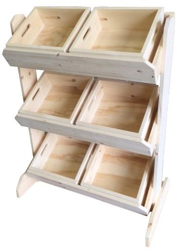 6 Bin Rustic Wood Retail Floor Display Removable Trays Crates Tilted Angled Wooden Display Stand Rustic Wood Crates