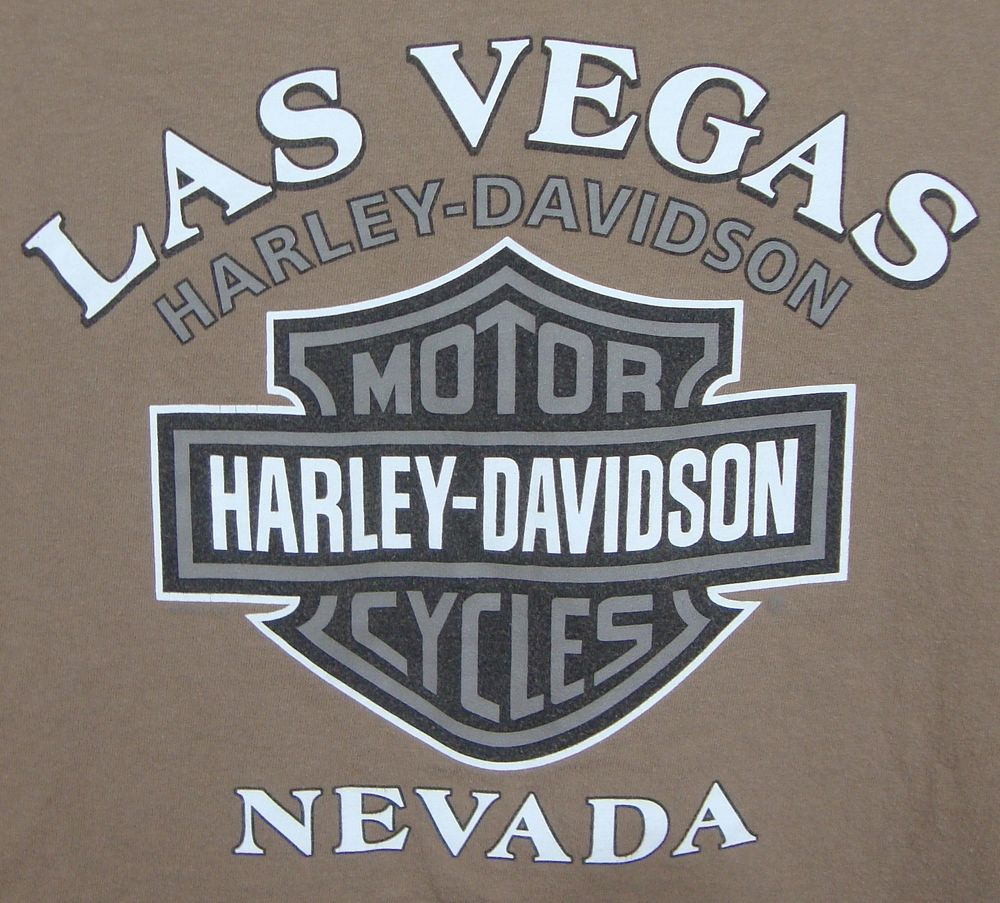las vegas harley davidson dealership graphic t-shirt large brown