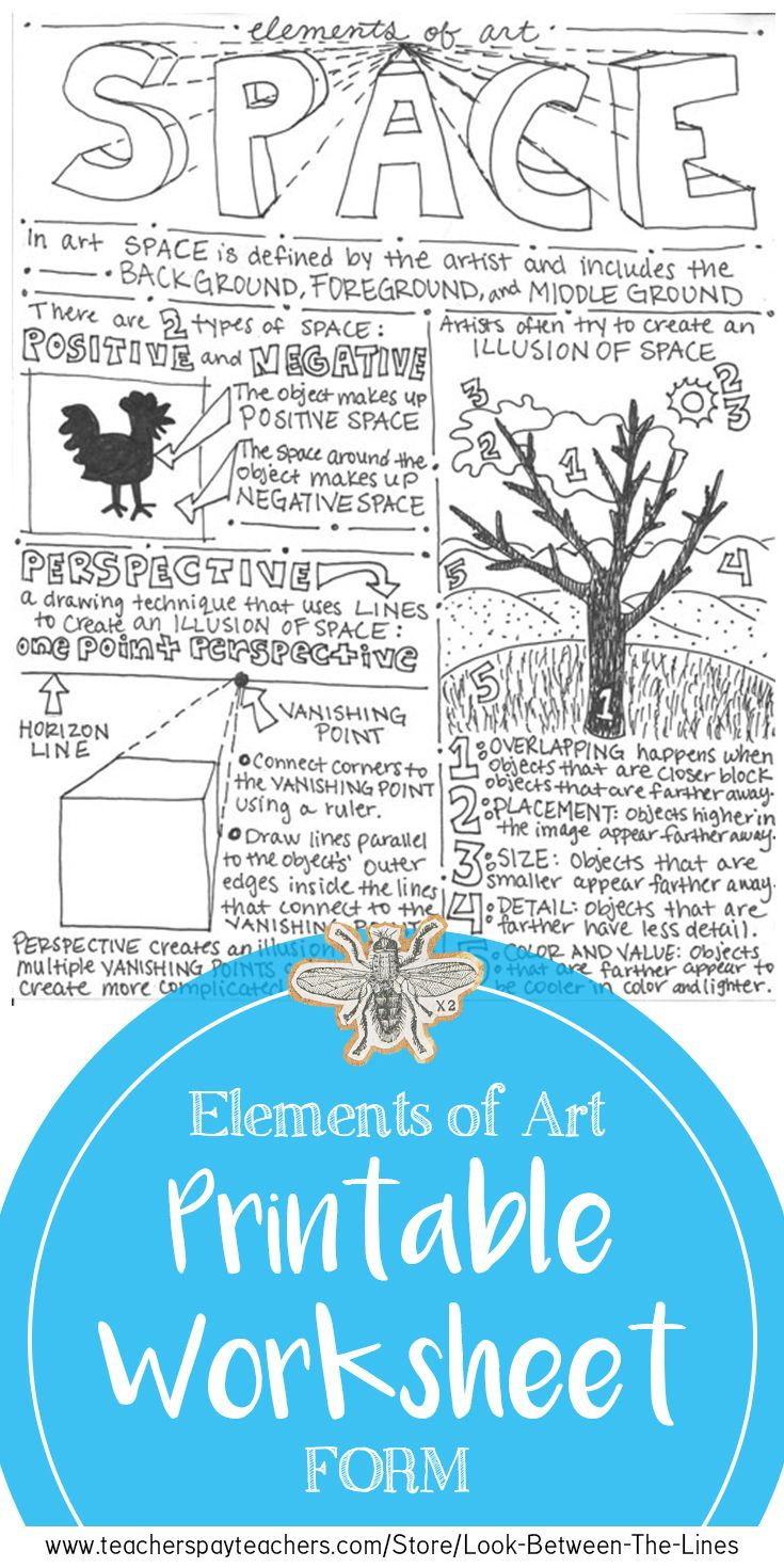 Space, Elements of Art Mini Art Lesson: Middle School Art, High ...