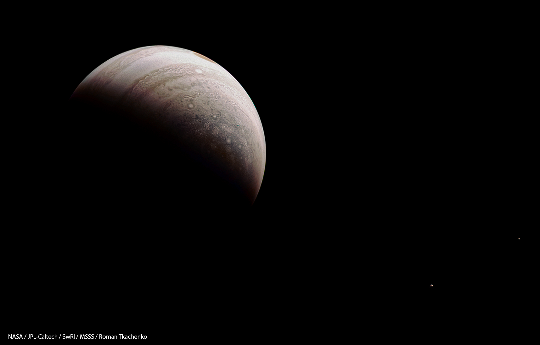 I Love This New View From Juno Of Crescent Jupiter With Two Of Its - Nasas juno spacecraft has captured incredible images of jupiters surface