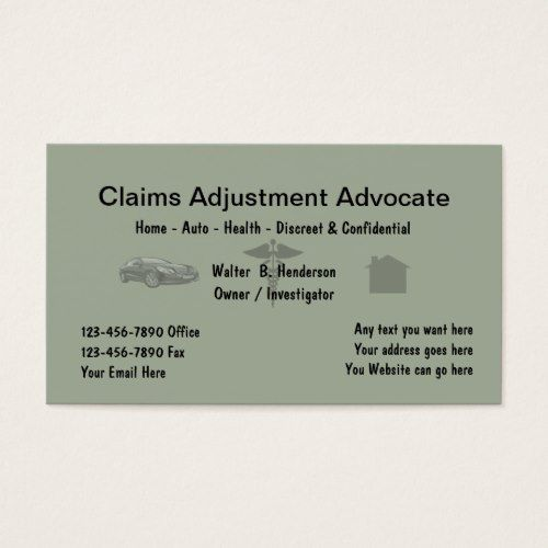 Insurance Claims Adjuster Business Card Zazzle Com Medical