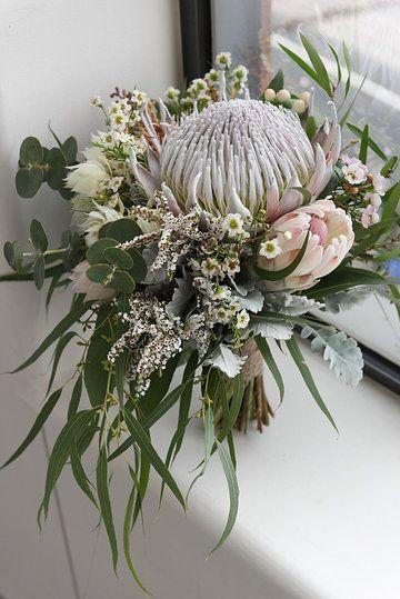 Native bridal bouquet king protea gum foliage silver for King protea flower arrangements