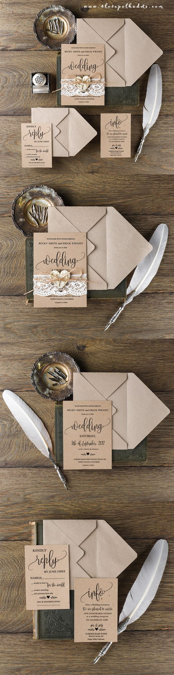 Rustic Wedding Invitation With Real Lace Birch Bark Heart