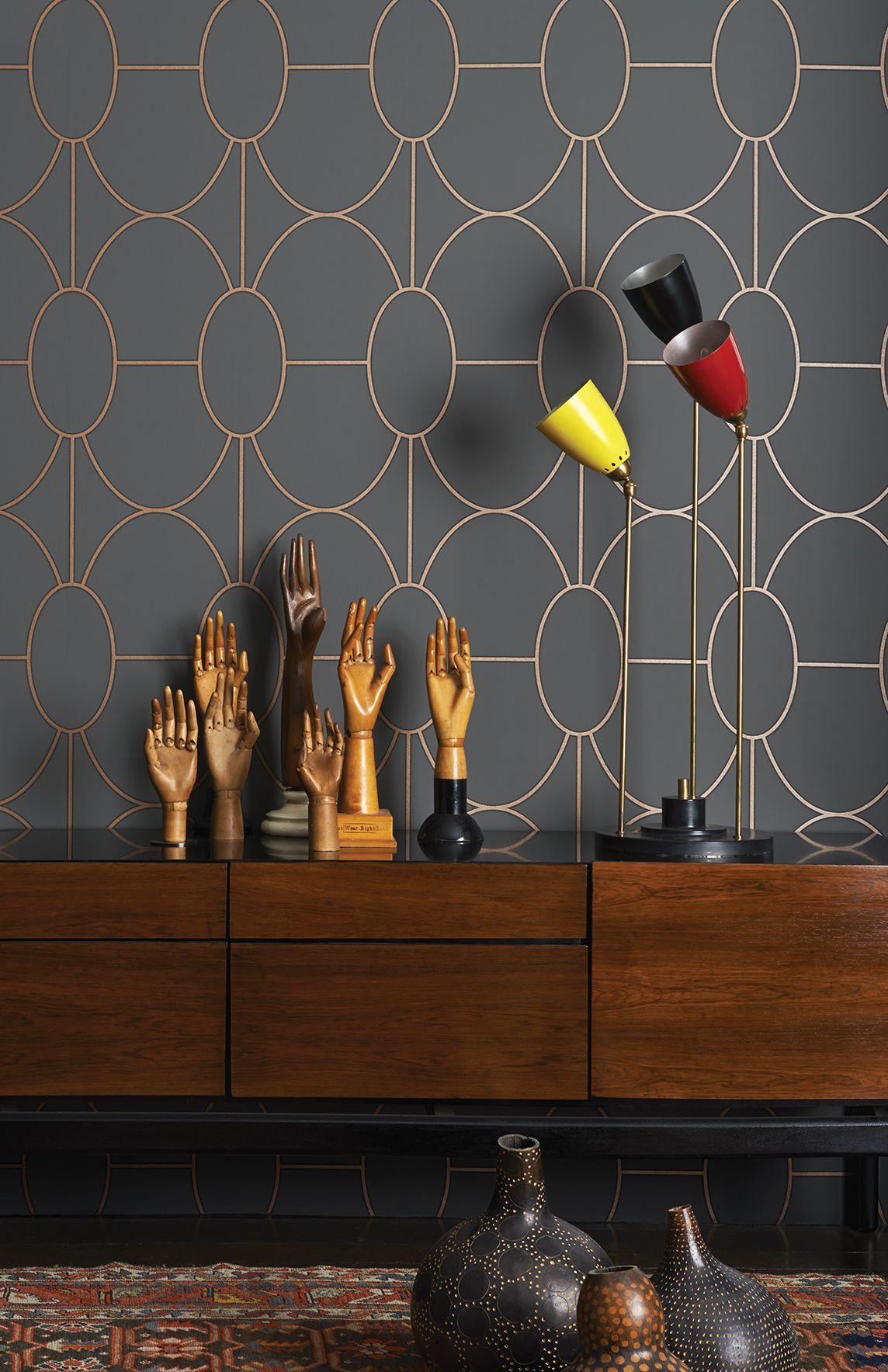 nouveau papier peint cole and son un motif g om trique et art d co la fois interior design. Black Bedroom Furniture Sets. Home Design Ideas