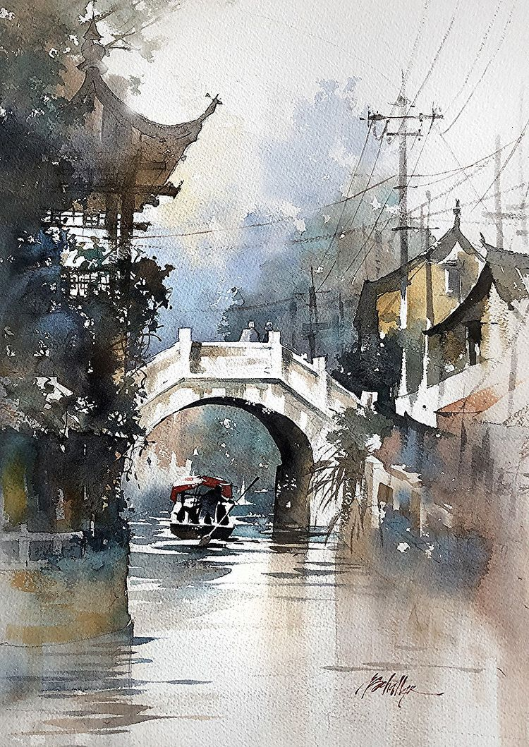 Footbridge Fengjing China Watercolor Watercolor