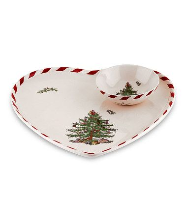 Take a look at this Christmas Tree Peppermint Heart-Shaped Plate \u0026 Dip Bowl by  sc 1 st  Pinterest & Take a look at this Christmas Tree Peppermint Heart-Shaped Plate ...