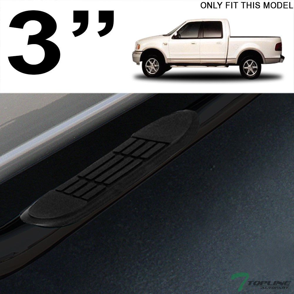 3 Tube Blk Side Step Bars Rail Running Boards Hd For 2001 2003 F150 Super Crew Cars Trucks 2003 F150 F150