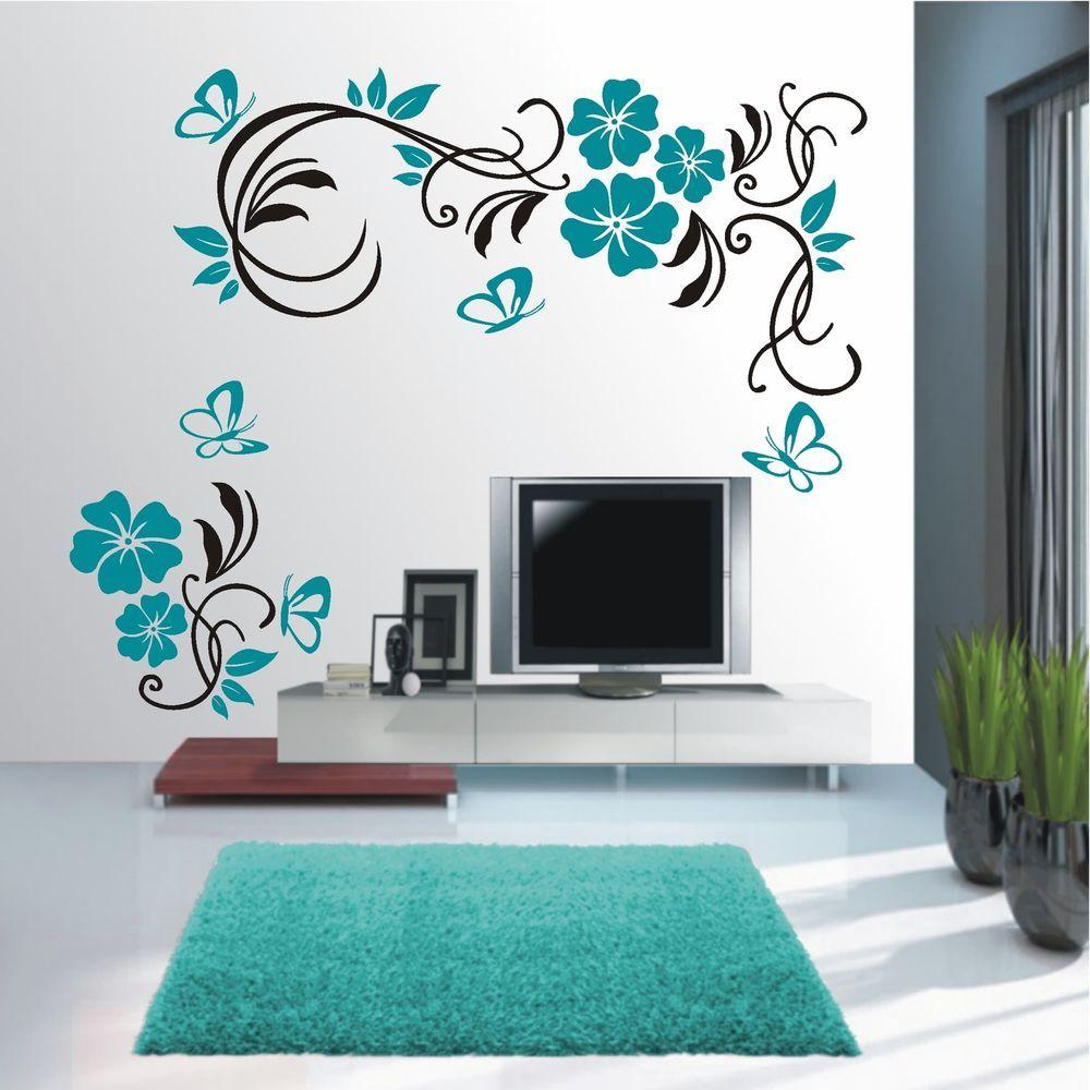 Wandtattoo Wandaufkleber Wandsticker 2farbig Blumen Ranke Wohnzimmer Flur Wt 579 Ebay Schlafzimmer Wand Designs Wandtattoo Dekorative Wandmalereien
