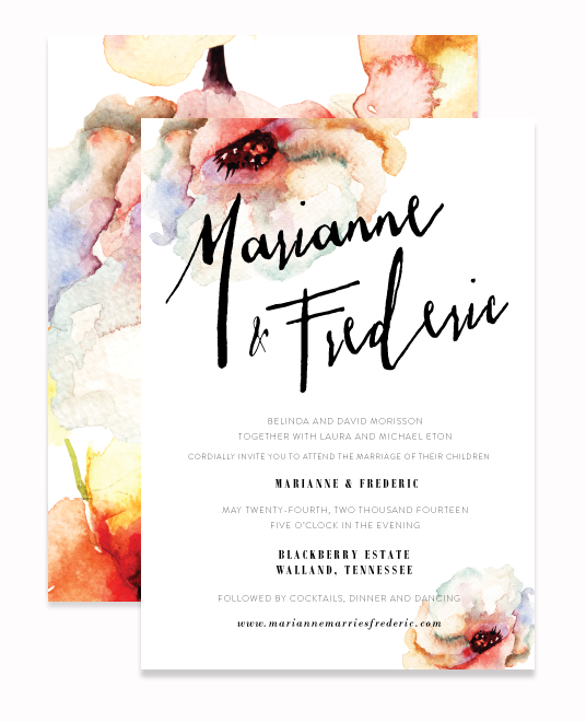 DeMussette Watercolor Romantic Wedding Invitation 3