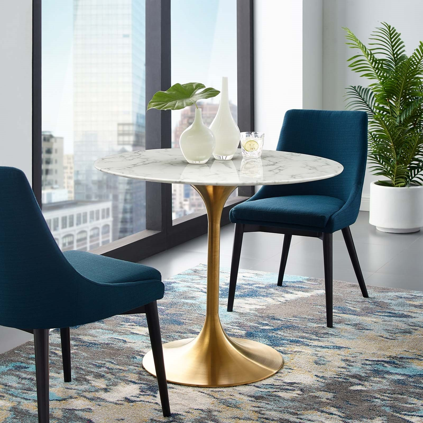 Lippa 36 Round Artificial Marble Dining Table In Gold White Lexmod Dining Table Gold 36 Round Dining Table Dining Table Marble