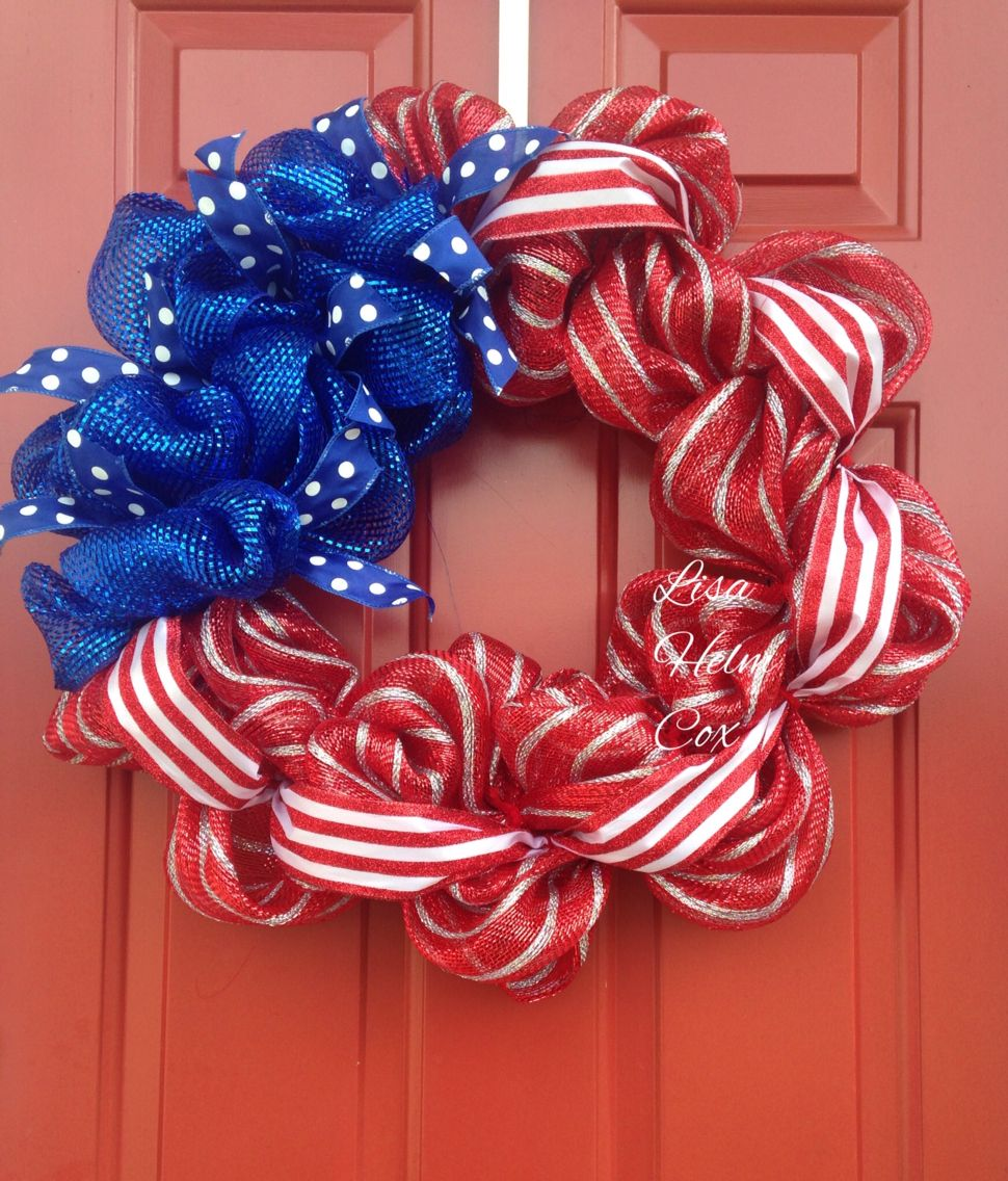 4th Of July Decomesh Wreath Red White Amp Blue Payriotic Memorial Day Flag 4th Of July