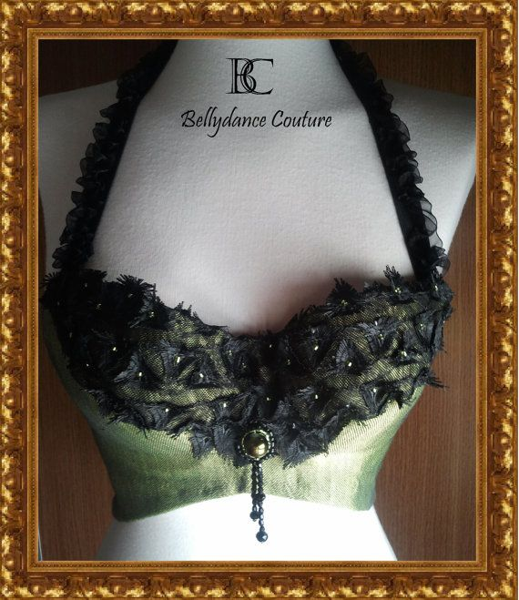 green, black, bra, steampunk, gothic, belly dance, bellydance, circus, tribal, costume, gypsy, tribal fusion, burlesque, goth, cabaret. $81.00, via Etsy.