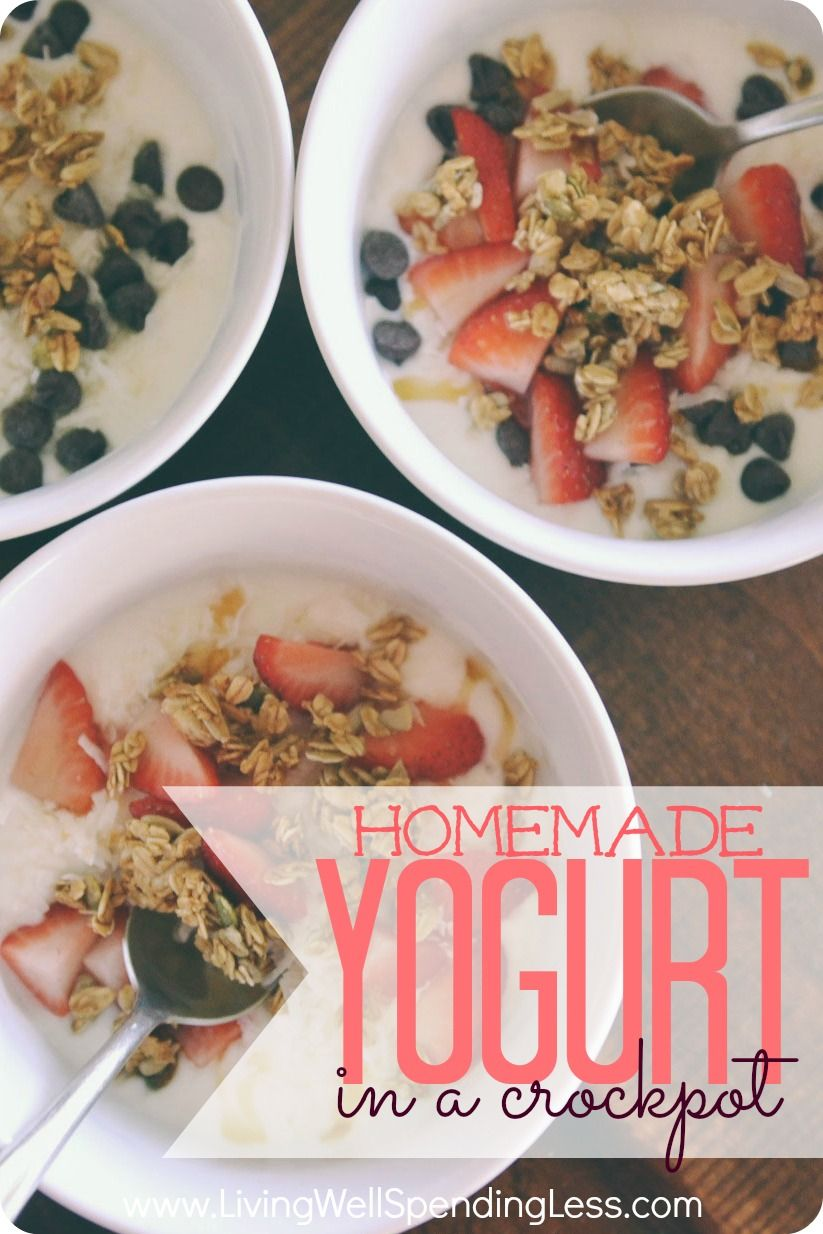 You won't believe how easy it is to make this homemade yogurt in your own crockpot!  Practically foolproof, this easy-to-follow tutorial gives step-by-step instructions for how to make fresh, healthy yogurt at home with just 2 simple ingredients.